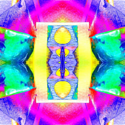 Zak Z 34.5 x 23 Multicolored Universe from Another Dimension to Infiniti and Beyond signature
