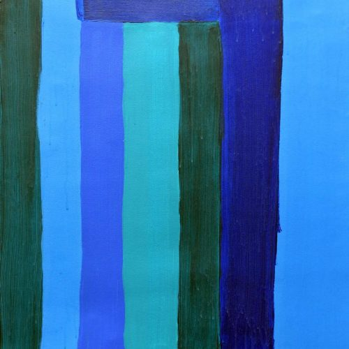 Shades of blue stripes painting by Tyler