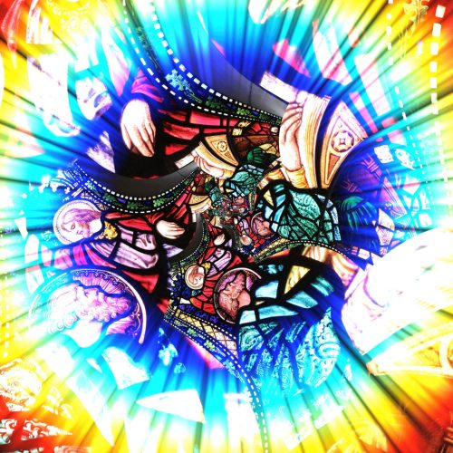 Religious Jesus Stained Glass with Multi Colored Lazer Light from Outer Space in Another Dimension through a Rainbow Circle Orb, 2019