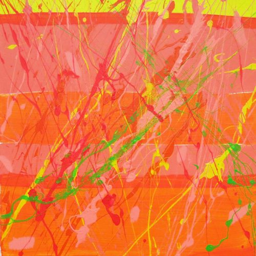 Yellow orange and green painting with splatter by Tyler