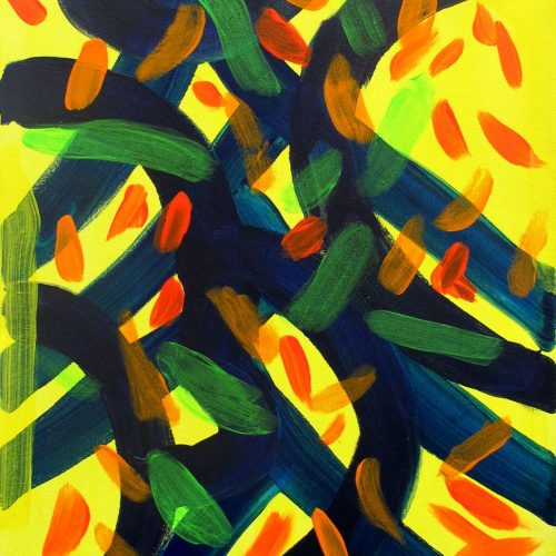 Yellow navy and orange abstract painting by Tyler
