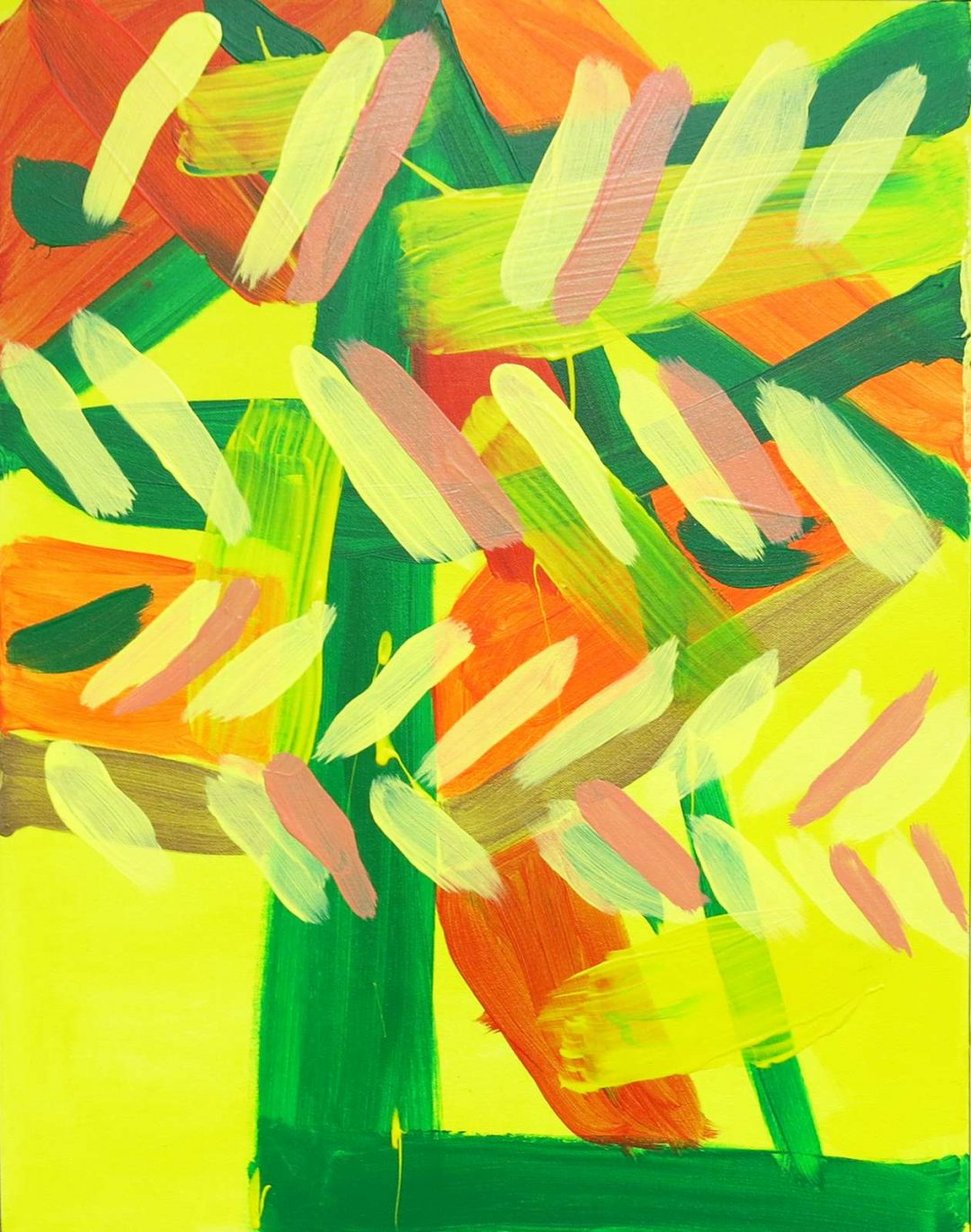Yellows, oranges and greens abstract design painting by Tyler